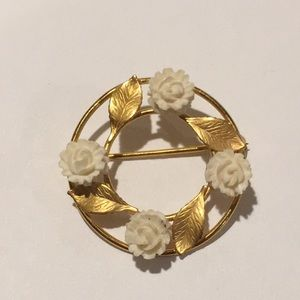 Vintage Karen Lynne 12k gold filled Roses Brooch
